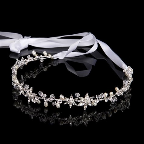 Fashion Vintage Simulated Pearl Chain Hair Accessories Classic popular bridal headbands with ribbon buy cheap bridal