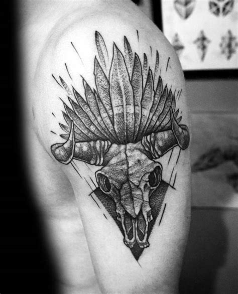 Bull Skull Tattoos With Feathers 70 Bull Skull Tattoo Designs For Men Western Ideas