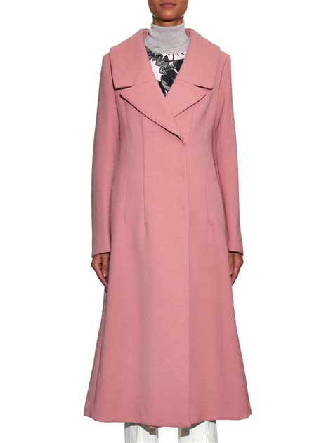 Wool Blend Lapel Coat lyst marni wide notch lapel wool blend coat in pink