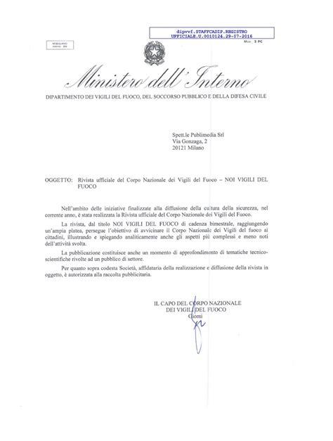 ministero interno vigili fuoco noi vigili fuoco lettera ufficiale ministero