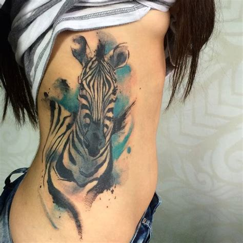 watercolor tattoo zebra side of a watercolor style zebra