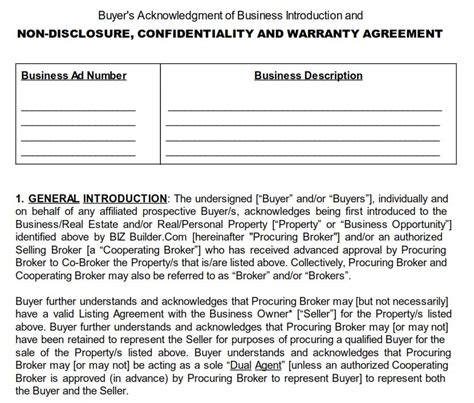 Should I Sign An Nda When Buying A Business Biz Builder Com Business Sale Confidentiality Agreement Template