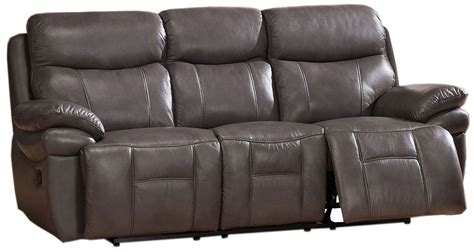 Grey Leather Reclining Sofa by Summerlands Smoke Grey Leather Reclining Sofa