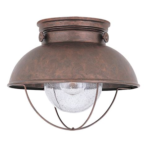 Copper Outdoor Light Shop Sea Gull Lighting Sebring 11 25 In W Weathered Copper Outdoor Flush Mount Light At Lowes