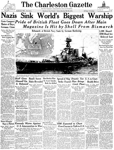 the charleston gazette maritimequest hms hood 1918 front pages page 1