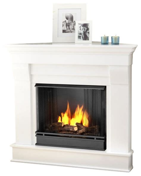 real chateau gel corner fireplace in white finish
