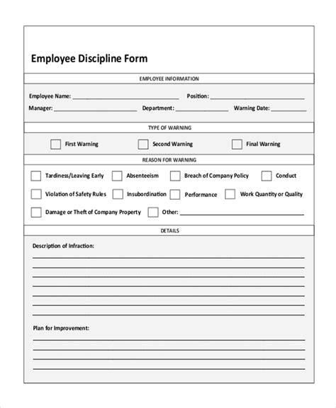 employee disciplinary form sle employee discipline forms 7 free documents in pdf