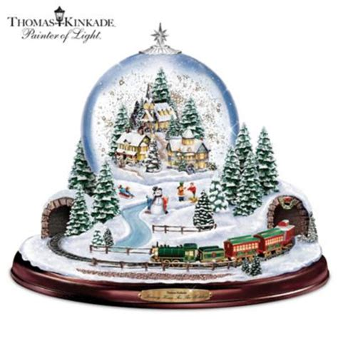 holiday memories lighted village and train music box kinkade journey home for the holidays illuminated snowglobe