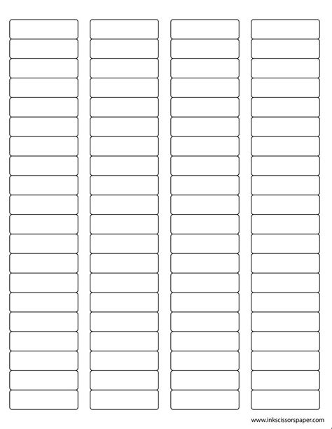 Template 1 3 4 X 1 2 Inch Rectangle Labels Inkscissorspaper 1 X 4 Inch Label Template