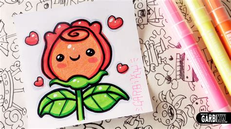 imagenes kawaii rosa how to draw kawaii rose by garbi kw youtube
