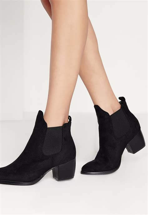 missguided low heel chelsea boots black in black lyst