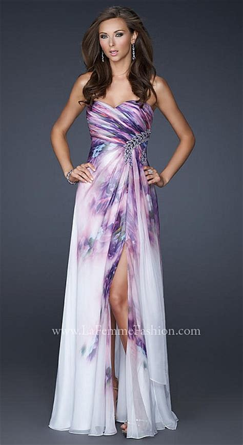 La Femme Stunning Lavender Print Prom Dress 17300   French Novelty