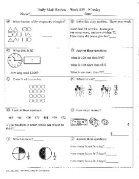 3rd grade daily math review worksheets daily math review and quizzes 2nd grade 3rd quarter by christie uribe
