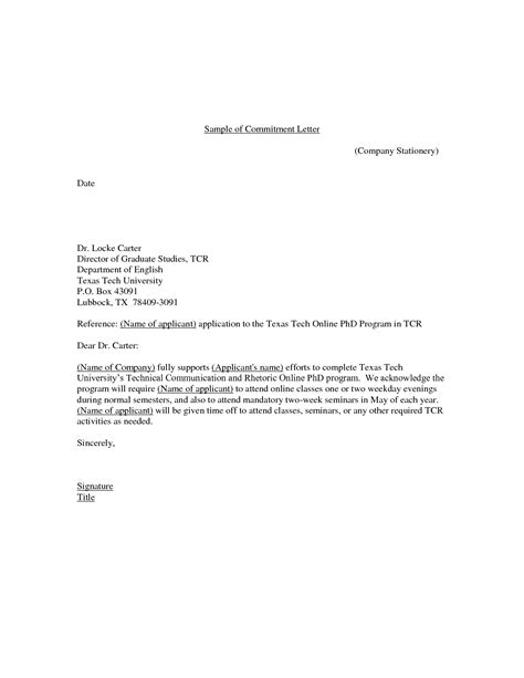 Commitment Letter For Work Sle Commitment Letter Sle Crna Cover Letter