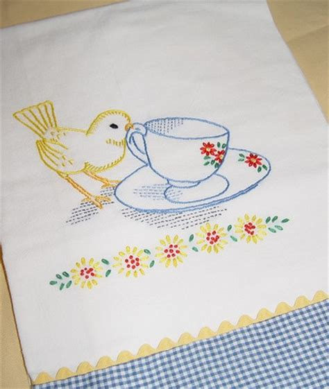 Embroidery Designs For Kitchen Towels Tea Time For Bird Embroidered Flour Sack Tea Towel With Vintage Embroidery Design