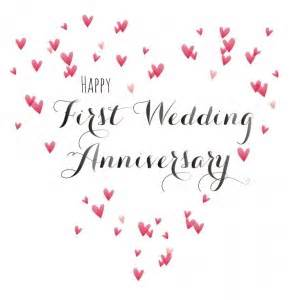 happy first wedding anniversary quill anniversary card