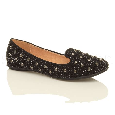 studded flats shoes womens studded loafers ballet flats slip