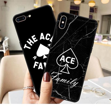 ace family logo black marble soft silicone tpu cell phone case  iphone xs max xr