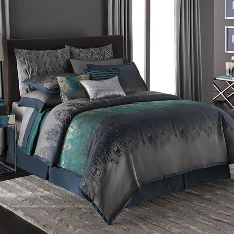 peacock feather comforter set jennifer lopez exotic plume peacock feather teal queen