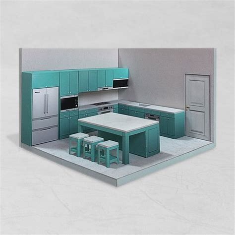 papercraft kitchen 002 diy dollhouse paper model
