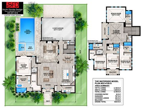 south florida house plans south florida designs waterside 2 story coastal house plan