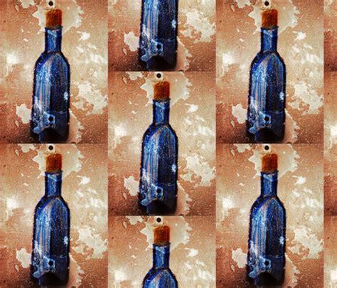 Swatch Gn719 Original Wanita Blue Bottle wine bottles in blue fabric kylacadwell spoonflower