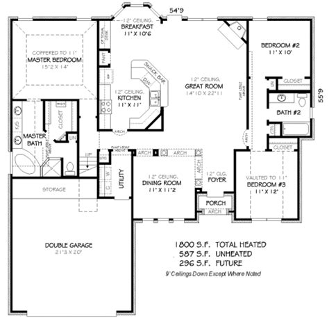 house plans 1800 square feet traditional style house plan 3 beds 2 baths 1800 sq ft
