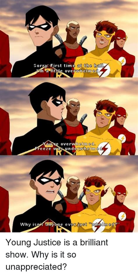 Young Justice Memes - sorr first time at th cha00 m a lit overwhe ime helm edo