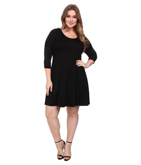 plus size swing dresses karen kane plus plus size 3 4 sleeve embellished cuff