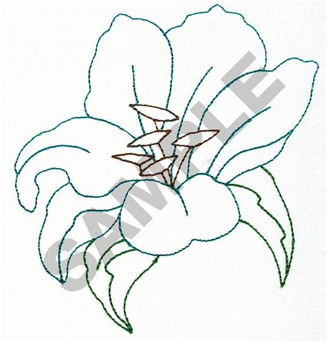orchid outline embroidery designs machine embroidery