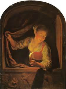 Large Paintings gerard dou young woman with a candle at a window