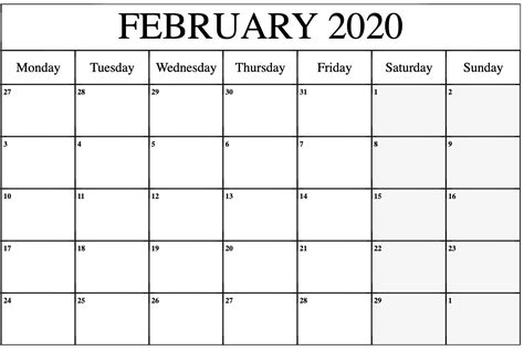 blank calendar february  printable  notes  platform  digital solutions blank