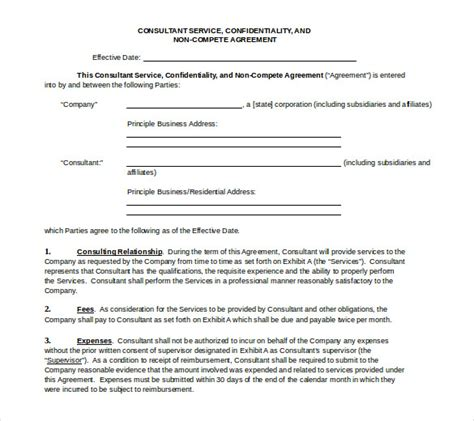 non compete agreement free template 8 word non compete agreement templates free