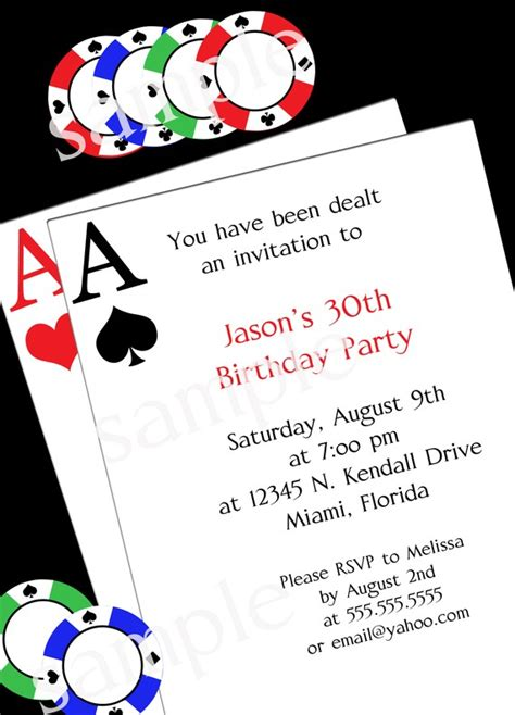printable themed party invitations poker party invitation diy printable party invitation