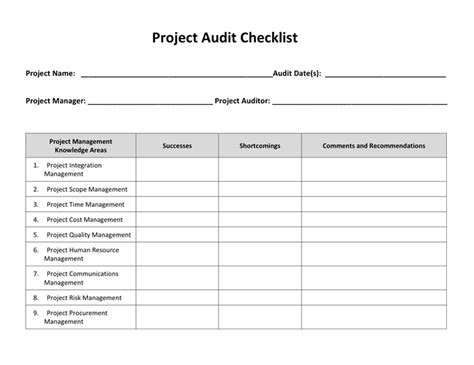 Project Audit Checklist Template In Word And Pdf Formats Project Management Audit Report Template