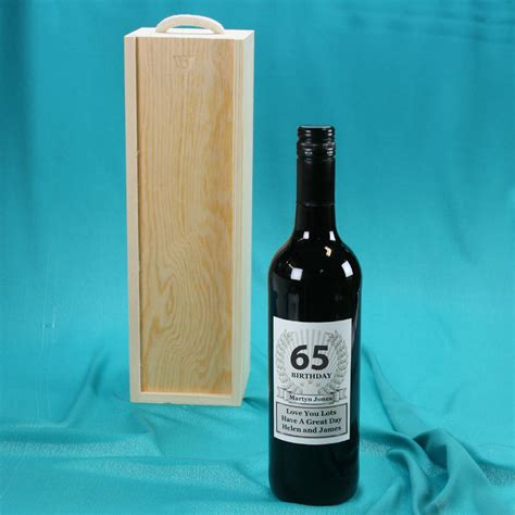 65th birthday wine bottle personalised gift by
