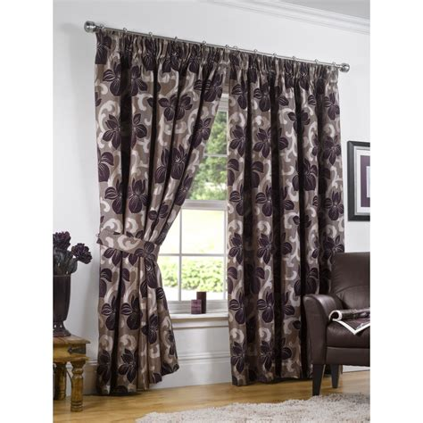 aubergine and green curtains urban living hton aubergine heavyweight floral pencil