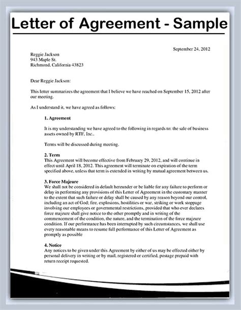 Letter Of Contract Agreement Exles Letter Of Agreement Images