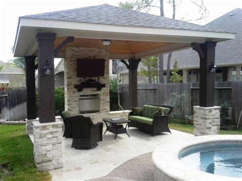 free standing covered patio free standing patio cover w gas fireplace