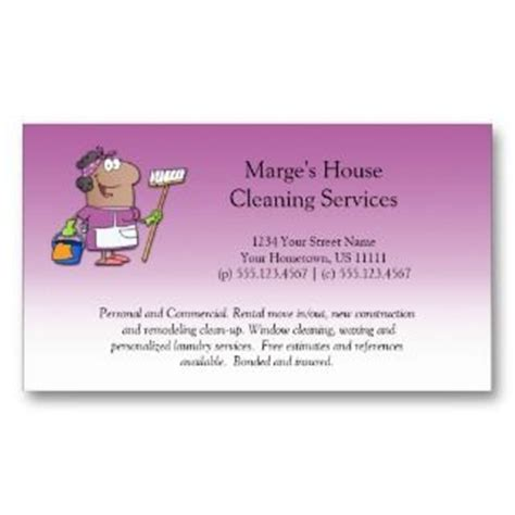cleaning services maid business card