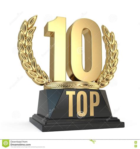 10 Great And At The Awards by Top 10 Award Cup Symbol On White Background Stock
