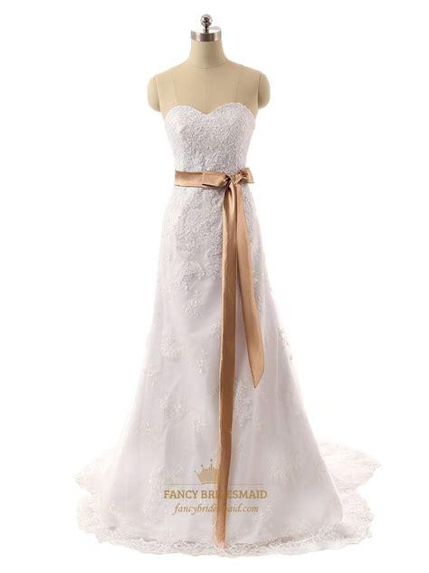 white strapless sweetheart floral applique wedding dress