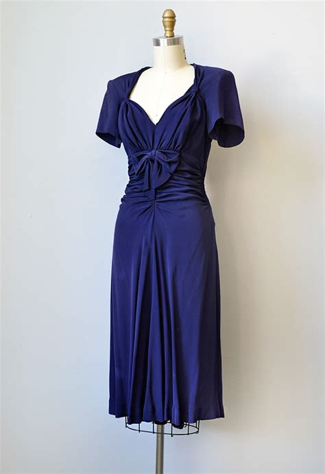 vintage 1940s navy silk rayon dress with bows she