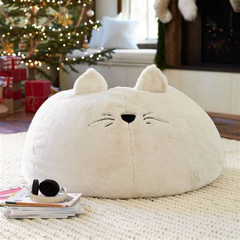 cat bean bag chair cat faux fur beanbag pbteen