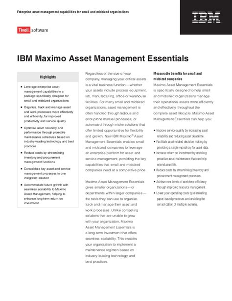 Mba Essentials For Managers by Maximo Asset Mngmnt Essentials