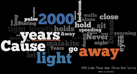 Green Day 2000 Light Years Away by Green Day 2000 Light Years Away Word Cloud