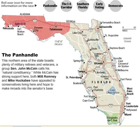 map of panhandle florida mike huckabee the electoral map