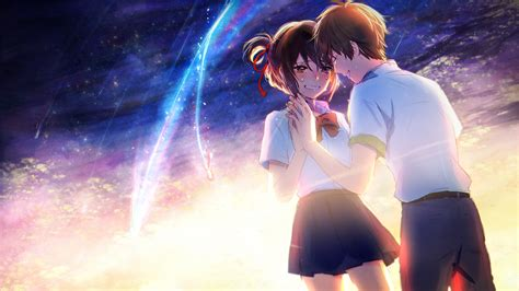 couple wallpaper with name wallpaper kimi no na wa mitsuha x taki couple your name