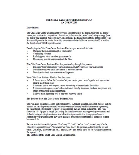 Galerry printable daycare business plan
