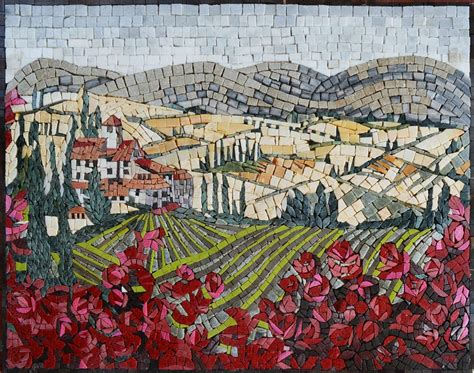 mosaic pattern landscape mosaic designs tuscan ville flowers and trees mozaico